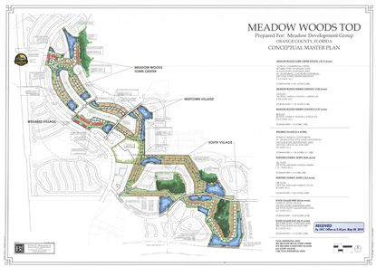 A conceptual site plan for a transit-oriented development near the Meadow Woods SunRail Station. The owner is looking for entitlements to bring a little more than 1,500 residential units on a shuttered golf course.