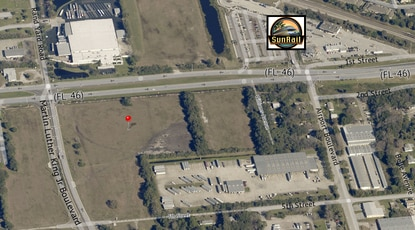 The red pin marks the site of a planned transit-oriented community with a mix of apartments and retail, across S.R. 46 from the Sanford SunRail station.