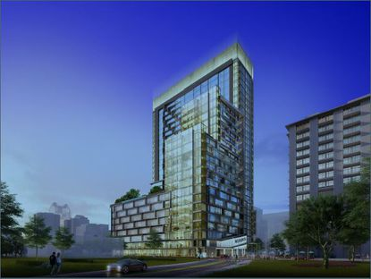 A rendering of the proposed 24-story Monarch tower in downtown Orlando.