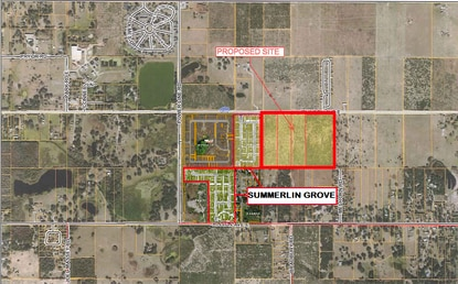 A developer wants to build 220 homes on this 49-acre site adjacent to the Haines City limits. The city has already approved a new subdivision, Summerlin Groves, next door.