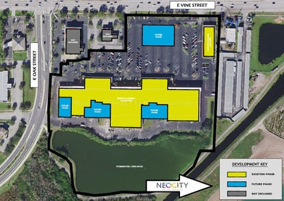 This conceptual site plan shows a possible expansion scenario for Mill Creek Mall at 1312 E. Vine Street in Kissimmee.