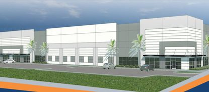 A rendering of an industrial building within Axcess Park at 33rd.