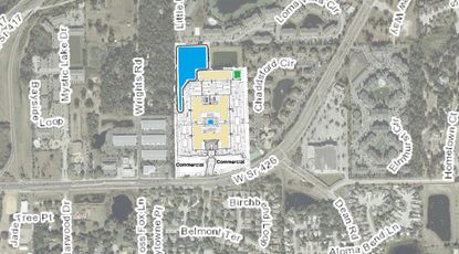 An aerial with a site plan of mixed-use Noma project in unincorporated Seminole County.