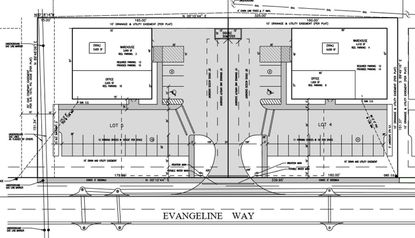 Hickman Enterprises has submitted a site plan to the county for two office/warehouse structures in the family-owned I-4 Industrial Park on the west side of Evangeline Way. (Courtesy Hickman Enterprises)