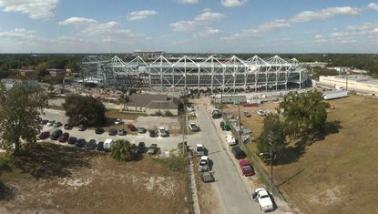 A view of construction progress on the new soccer stadium in Downtown Orlando on Oct. 26, from a live webcam provided by developer.
