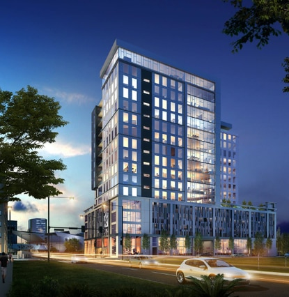 Ray Design Development had previous plans to build a 4-story apartment building at Magnolia and Marks. Now the firm envisions a 20-story mixed-use tower similar to this one in Denver.