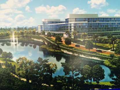 A rendering of the main building planned for a KPMG corporate training campus with up to 550,000 square feet of conference space, up to 1,200 lodging rooms and recreation area.