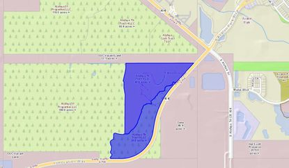 Highlighted in blue are the two parcels owned by an affiliate of Winter Park-based the Morgran Group, on a portion of which it plans to develop up to 539 new multi-family units.