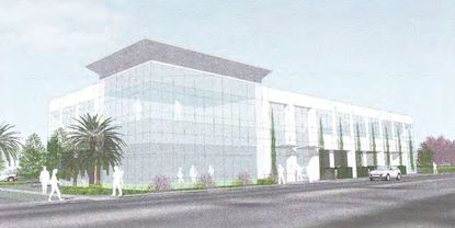 One of two renderings for a proposed office building by ComTech Properties and Verax Investments at 1111 W. Fairbanks Ave.