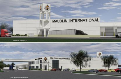 An early rendering of the new Maudlin International sales and repair building planned for Orlando.