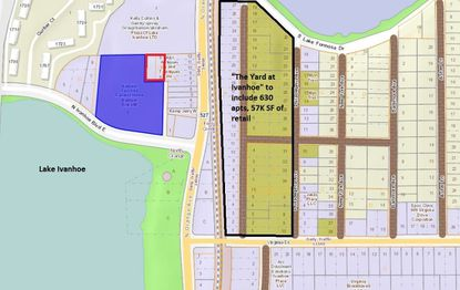 Highlighted in blue and outlined in red on the left side of the map, north of N. Ivanhoe Boulevard, is the property planned for development by Alliance Residential. To the east, across N. Orange Avenue, is The Yard at Ivanhoe development now under construction.