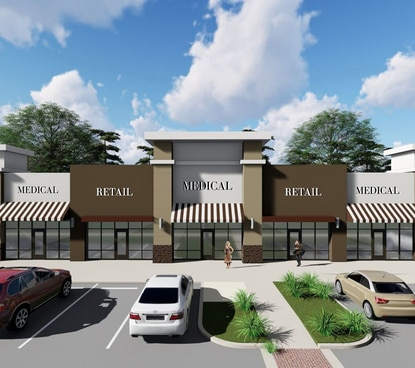 The roughly 14-acre development site is being prepped to feature roughly 20,000 square feet of commercial space along Ronald Reagan Boulevard.