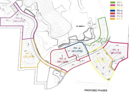 The Phase 3 portion of Lennar's Stoneybrook Hills development would be built in seven sub-phases, moving in a clockwise direction. The Stoneybrook Hills Parkway extension runs along phases 6 and 7.