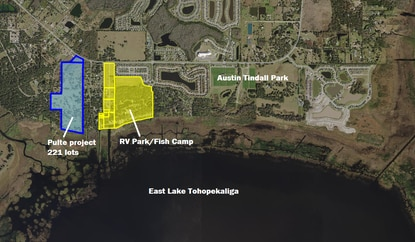 Pulte Homes has filed construction plans for a 221-lot subdivision on the north shore of East Lake Toho at Boggy Creek Road and Lake Vista Drive. Last year the homebuilder walked away from a deal to buy the 96-acre RV resort shown in yellow.
