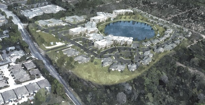 Lakeside at Waterman Village will bring 240 units to 37 acres surrounding Lake Margaret. At left is N Donnelly Street.