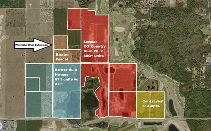 Lennar Homes, which is in permitting for more than 800 homes in the second phase of ChampionsGate Country Club, has a purchase contract on a 30-acre parcel that would provide direct access to the future Westside Boulevard extension.