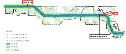 Each dot on the map shows a hotel or motel on the W192 corridor. The county's advisory board wants to prohibit residential conversions between S.R. 429 and S.R. 523/Vineland Road.