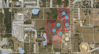 Highlighted in red is the 170.6 acres under contract to D.R. Horton for Timberland.