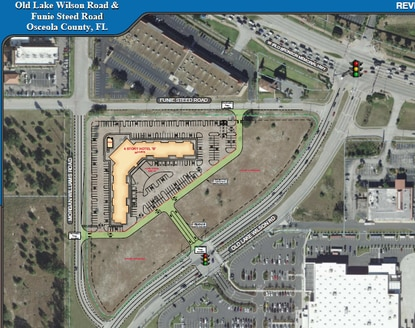 The developer wants to subdivide the vacant lot across from the Walmart Supercenter at U.S. 192 and Old Lake Wilson Road and build a dual-branded hotel in the northwest corner.