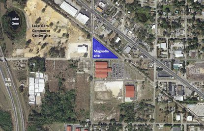 Highlighted in blue is the 2.4-acre site for the planned Magnolia Commerce Center (light industrial). It lies directly north of the Cooper Palms Sports Complex in Apopka, and east of S.R. 451.