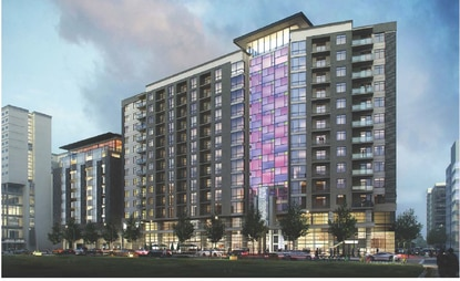 The 409-unit apartment building now under construction will face the Creative Village Central Park.