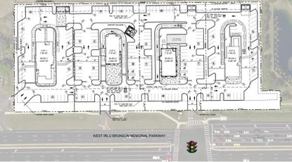 Conceptual redevelopment plan for roughly 4.5 acres on the northern side of W. Irlo Bronson Memorial Highway, directly west of the entrance to Holiday Inn Orange Lake Resort.