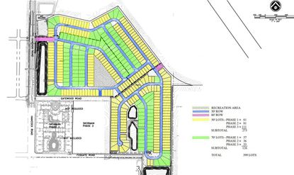Highlighted is the new subdivision plan by Hanover Family Builders for a first phase of 399 homes on 126 acres at the Hills of Minneola, which includes 50-foot lots (yellow) and 70-foot lots (green). Skorman Development's apartments site lies to the southwest.