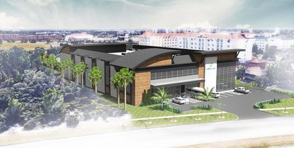 Rendering of the proposed TD Self Storage facility at the intersection of Palm Parkway and Marbella Palms Court.
