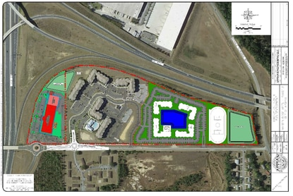 This site plan shows the existing Marden Ridge apartments and the proposed second phase of the community. A new K-12 private preparatory school is shown in red.