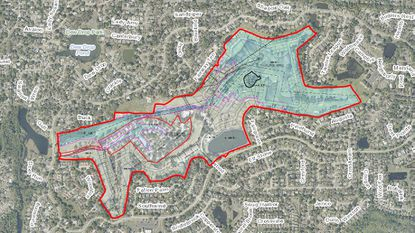 An aerial map showing the latest rezoning site plan for the proposed 213-lot subdivision on 138 acres at 300 Daneswood Way.