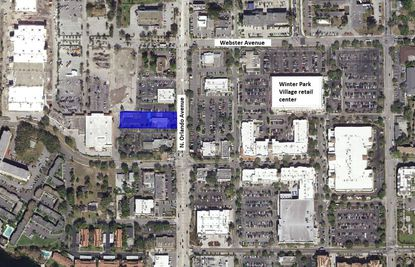 Highlighted in blue is the parcel at 633 N. Orlando Ave. in Winter Park, which lies directly west of the Winter Park Village shopping center.