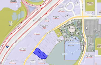 Highlighted in blue, the two parcels being offered for sale lie on Sandy Lake, just north of the Ramada Plaza on International Drive.