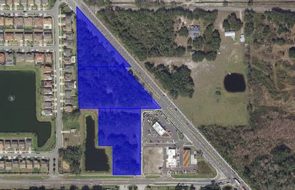 Highlighted are the parcels totaling more than 9 acres at the northwest corner of Narcoossee and Boggy Creek roads, in the southeast corner of Lake Nona.