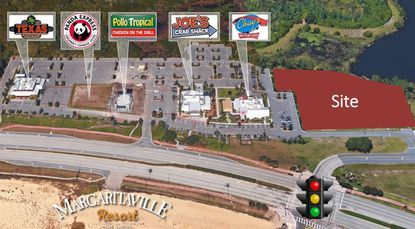 Highlighted in red is the recently acquired site at the intersection of Black Lake Road and W192 in Kissimmee, where Equinox Development Properties plans restaurant and retail multi-tenant buildings.