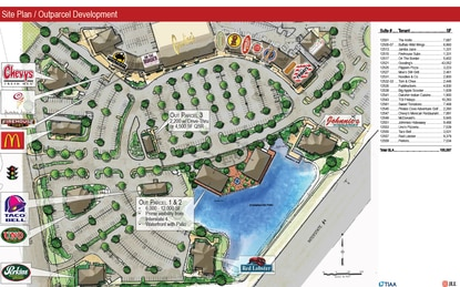 With more than a dozen national restaurants, Crossroads at Lake Buena Vista is a dining destination. The property is entitled for three additional restaurant sites, which are shown on this development plan.
