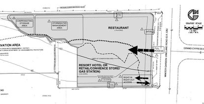 With north on the left of the image, this Land Use Plan shows the layout of the now completed Twin Peaks restaurant and the future hotel and parking deck, on 10 acres along SR 535 in Lake Buena Vista.