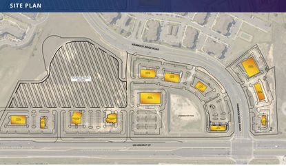 A site plan for the commercial center and apartment community along U.S. Highway 27 in Clermont.