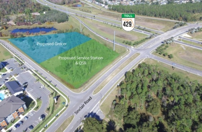 The last available corner of the Sinclair Road - S.R. 429 interchange is under contract to developers who may look to bring new retail to the fast-growing corridor.
