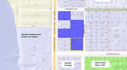 Highlighted in blue are properties in the 100 block of N. Orlando Avenue at the Morse Boulevard intersection that were bought in recent months by the same family investment group. Outlined in yellow is the latest office property acquired.