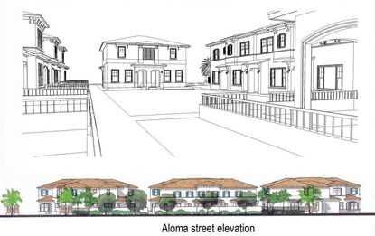 "A partial elevation and renderings of the proposed ""Loring Chase"" townhomes in Winter Park along Aloma Avenue."