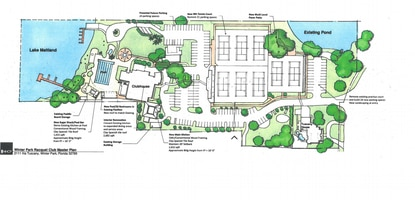 A site plan showing the layout of the Winter Park Racquet Club, and planned additions to the snack bar, commercial kitchen and parking areas.
