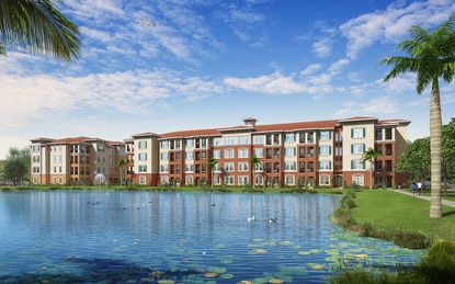 Fore Property Company will wrap construction on Vernazza apartments in Kissimmee this August. The 256-unit Class A community is Fore's third project on former Tupperware property.