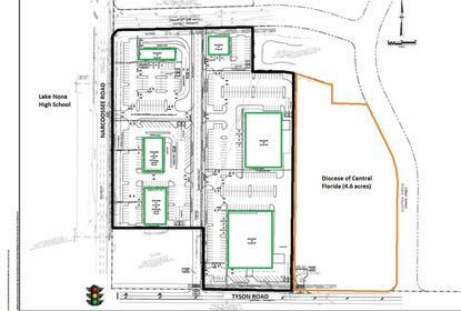 Outlined in black is the 9.7-acre parcel currently under contract at the northeast corner of Narcoossee and Tyson roads, with six retail buildings planned (green). Directly east is property owned by the Diocese of Central Florida (yellow), and further east the Bainbridge at Nona Place apartments.