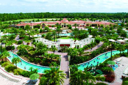 An aerial view of the River Island water park area that's part of Orange Lake Resort.