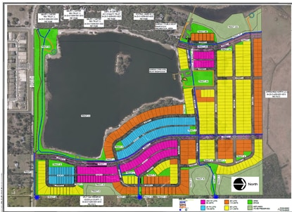 This is the approved preliminary subdivision plan for the 528-unit Southern Oaks community, with townhomes shown in blue. Phase 1 will include 300 units.