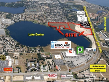 This 44-acre site is a half mile from Legoland Resort in Winter Haven and has zoning entitlements for commercial and multifamily development.