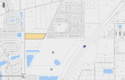 The parcel in beige and the one in white below it, both west of I-4 in Sanford, are pegged to be tied together by Chris Dorworth into a subdivision.
