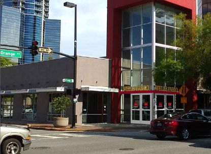 This image of the former Fiat building at 131 N. Orange Ave. has been altered by the applicant to show the proposed Wells Fargo bank signage on it.