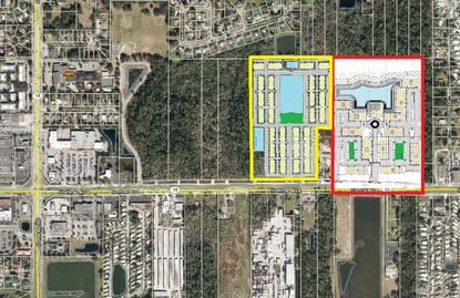 A developer who won approval for 348 apartments on Hoffner Avenue, outlined in red, is now applying to City of Orlando for an adjacent 166-unit townhouse community.