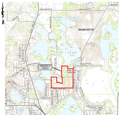 The previously stalled Villa Pass subdivision on Mascotte's Big Bluff Lake is outlined in red. A developer has filed construction plans for the first phase.